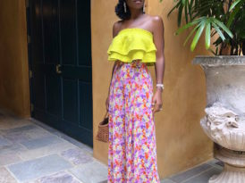Neon Frill Top + Floral High Waist Pants