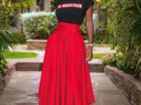 The Marathon Tee + Belted High Waist Skirt