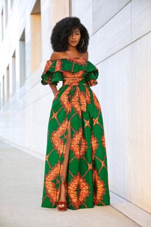 Ankara Print Crop Top + Front Slit Belted Skirt