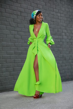 Button-Down Maxi Dress w/Billowy Sleeves