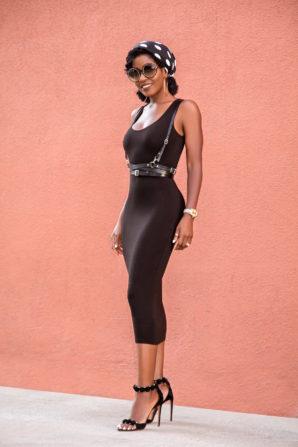 Leather Harness + Tank Midi Dress