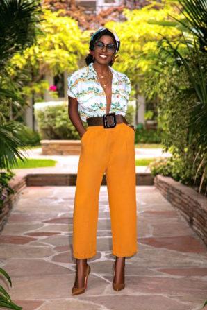 Palm Tree Print Shirt + Pleated Pants