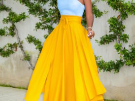 One Shoulder Peplum Top + Belted Midi Skirt