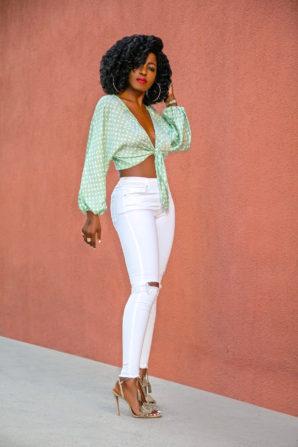 Polka Dot Tie Blouse + Ripped Skinny Jeans