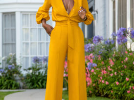 Billowy Sleeve Button-Down Jumpsuit