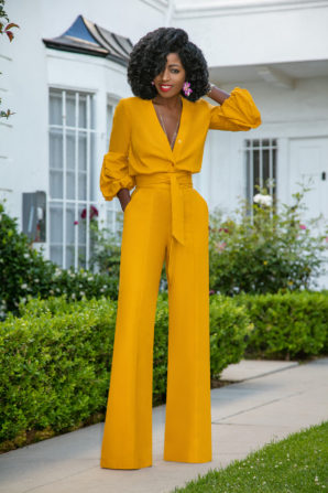Billowy Sleeve Button-Down Jumpsuit