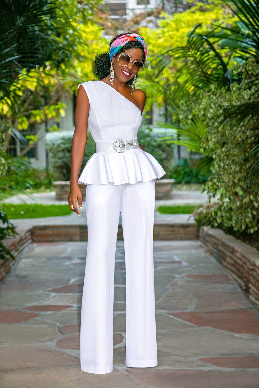 Style Pantry One Shoulder Peplum Top High Waist Pants