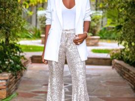 Oversized Blazer + Bodysuit + Sequin Pants