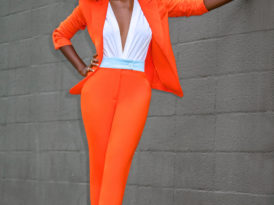 Power Suit: Fitted Blazer + Contrast Waist Pants