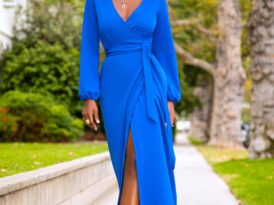 Cobalt Maxi Wrap Dress + Head Wrap