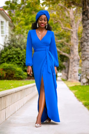 Cobalt Maxi Wrap Dress + Head Wrap