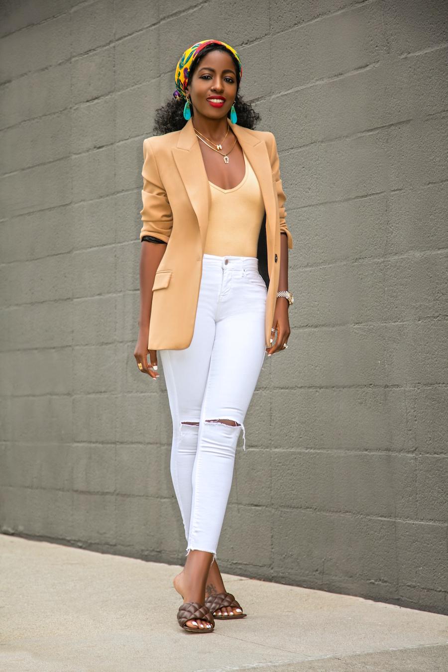 Style Pantry Oversized Blazer Bodysuit Ripped White