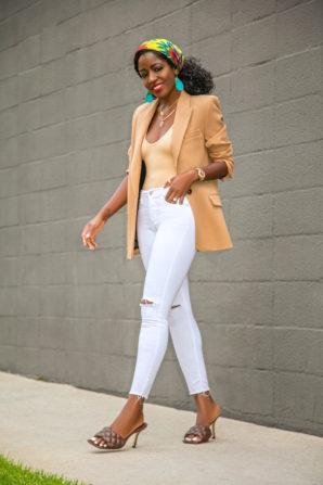 Oversized Blazer + Bodysuit + Ripped White Jeans