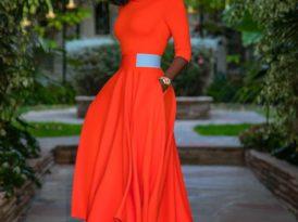 Folded Neck Contrast Waist Swing Dress