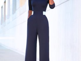 Fitted Blazer + Contrast Waist Jumpsuit
