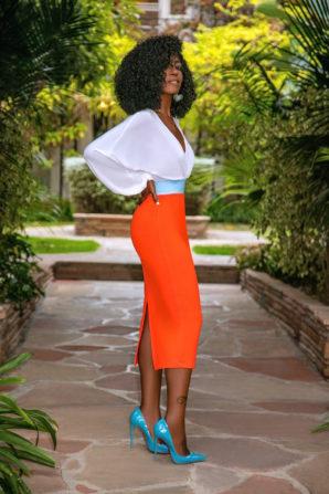 Billowy Sleeve Bodysuit + Contrast Waist Pencil Skirt