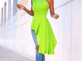 One Shoulder Asymmetrical Top + Ripped Levi's