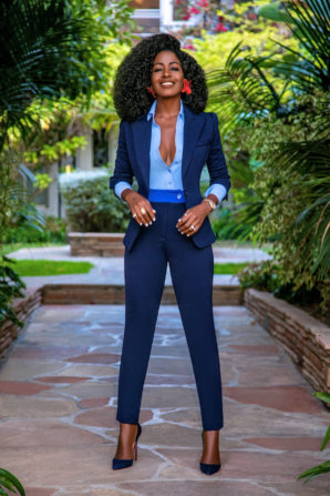 Fitted Blazer + Button-Down + Contrast Waist Pants