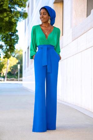 Billowy Sleeve Bodysuit + Belted High Waist Pants