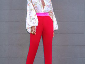 Bishop Sleeve Blouse + Contrast Waist Pants