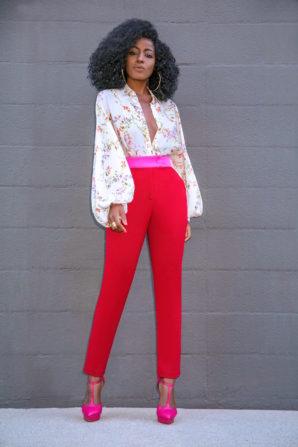 Bishop Sleeve Blouse + Contrast Waist Pants