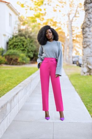 Crew Neck Sweater + High Waist Pegged Pants