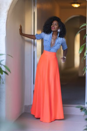 Fitted Denim Shirt + Neon High Waist Skirt