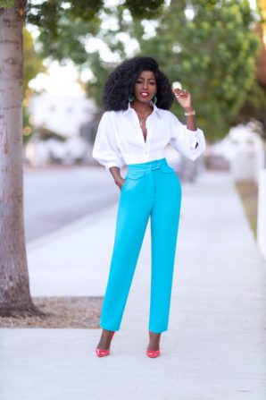 Puff Sleeve Shirt + Pegged High Waist Pants