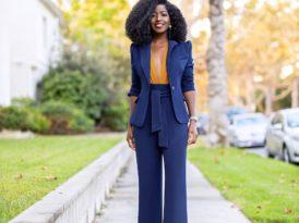 Fitted Blazer + Deep V Bodysuit + Belted High Waist Pants