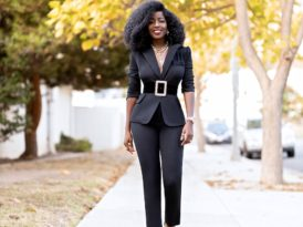 Fitted Blazer + Contrast Waist Pants