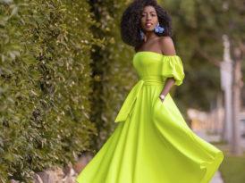 Neon Yellow Off Shoulder Dress