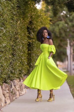 Neon Yellow Off Shoulder Dress