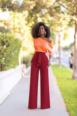 Off Shoulder Knit Top + Belted High Waist Pants