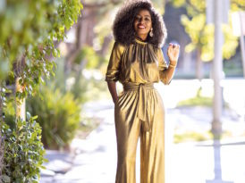 Gold Draped Top + Gold High Waist Ruched Pants