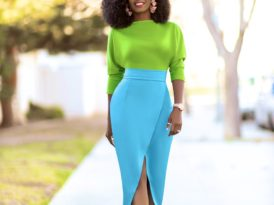 Dolman Sleeve Color Block Dress
