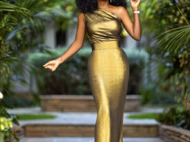 Gold One Shoulder Maxi Dress
