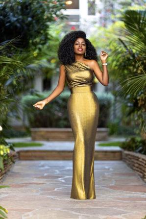Gold One Shoulder Maxi Dress