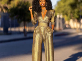 NYE 2019: Gold V-Neck Jumpsuit