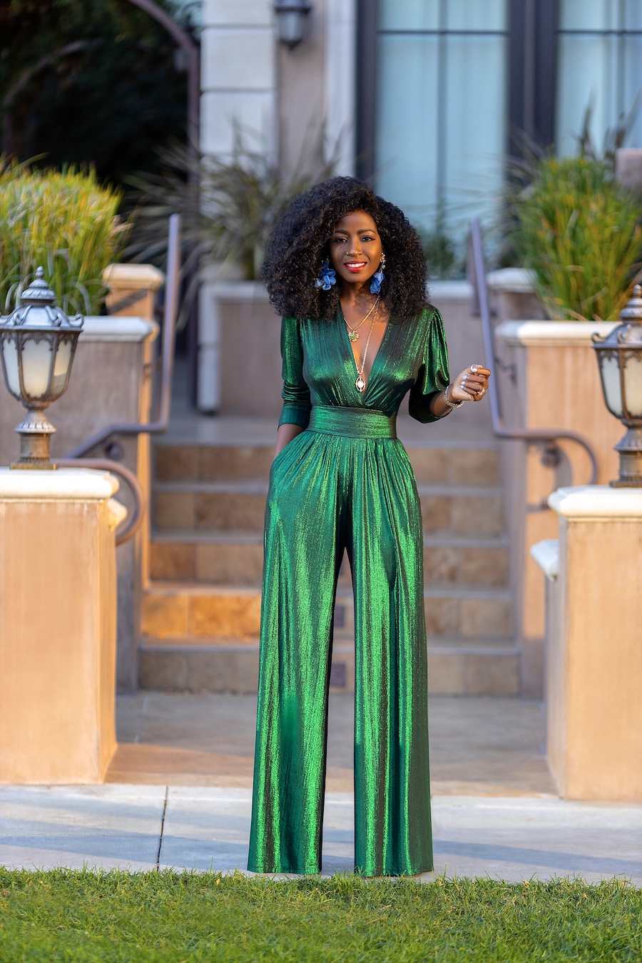 Front view of FKSP's emerald green jumpsuit