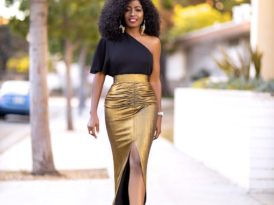 One Shoulder Top + Ruched Maxi Skirt