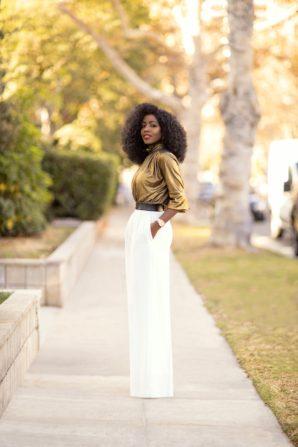 Gold Ruched Top + High Waist Wide Leg Pants