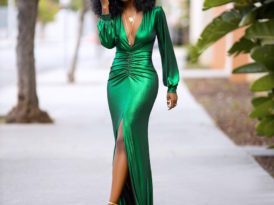 Emerald Ruched Maxi Dress