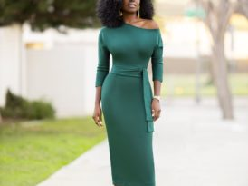 Belted Off Shoulder Pencil Dress