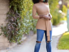 Off Shoulder Belted Tunic + High Waist Jeans