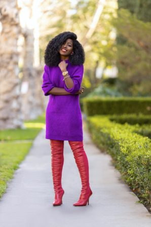 Knit Sweater Dress + OTK Boots