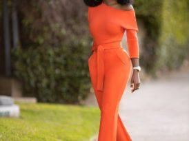Orange Off Shoulder Jumpsuit