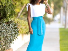 Padded Shoulder Tee + Belted Pencil Skirt