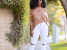 Off Shoulder Sweater + Ripped White Jeans