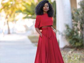 Long Sleeve Crop + Belted Midi Skirt