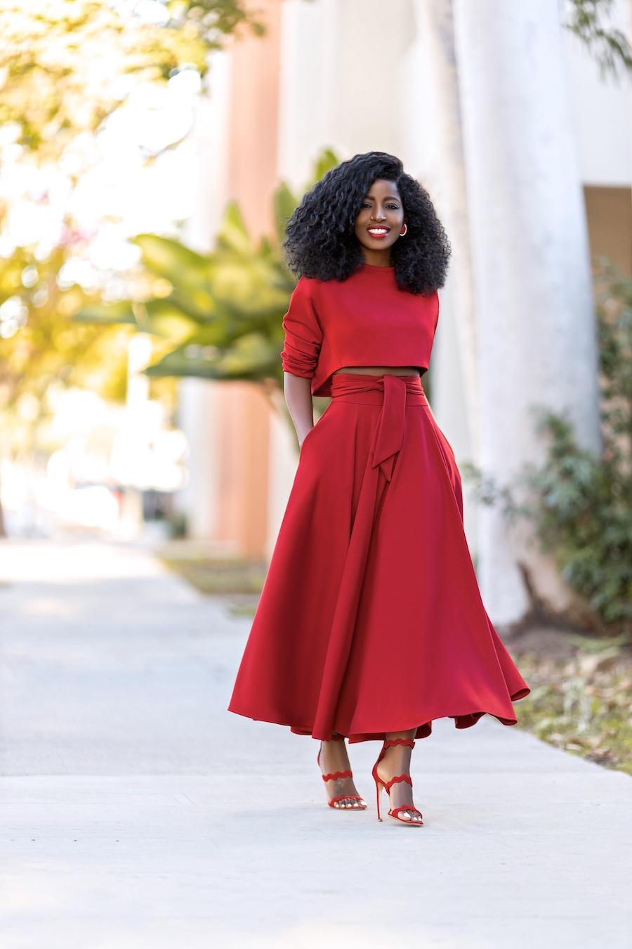 Style Pantry Long Sleeve Crop Belted Midi Skirt